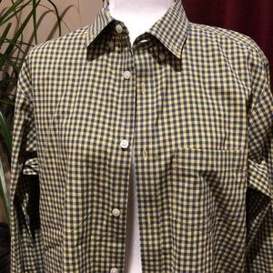 Old Navy plaid blue/yellow the classic shirt Sz M